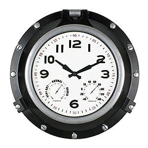Poolmaster 52539 18″ Black Porthole Clock