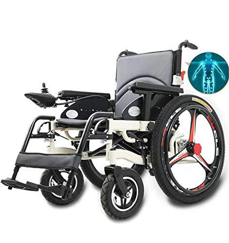 Faltbarer Elektrischer Rollstuhl mit Li-Ion Battery,Elektrischem Antrieb Oder Als Manueller,Leichtgewicht Elektrorollstuhl,Breiter Sitz 50CM,Tragbarer Roller für ältere Behinderte / 25Ah