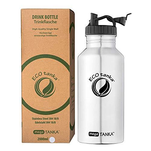ECOtanka megaTANKA Trinkflasche aus Edelstahl 2 Liter auslaufsicher - Wasserflasche BPA frei (Poly Loop Verschluss)