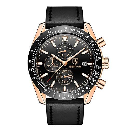 BENYAR 5140L - Reloj cronógrafo para hombre, correa de piel, estilo clásico, moderno, elegante