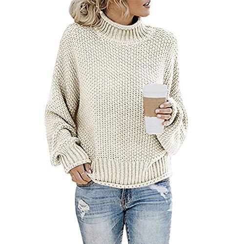 None/Brand Rollkragenpullover Damen Schwarz Oversize Winter Herbst Pullover Lässig Locker Strickpullover Warm Langarm Grobstrickpullover