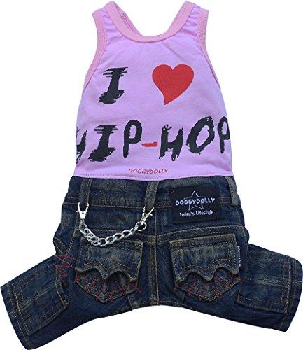 Doggy Dolly C185 hondencombi I love Hip Hop Jeans, roze, XXS Brust 26-28cm, Rücken 13-15cm