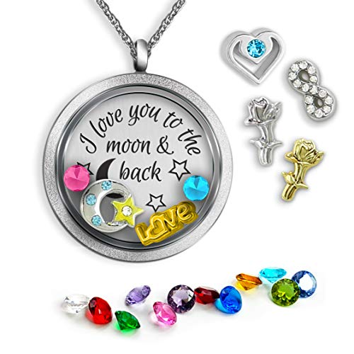 I Love You To The Moon And Back Floating Charm Necklace