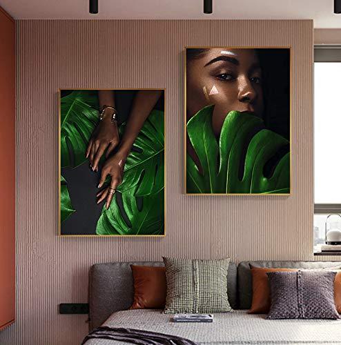 Abstrakte schwarze Frauen Lippe und Auge Gaze Leinwand Fashion Print n Poster Big Wall Art Bild Wohnzimmer Gang Nail Art Dekoration 2 teilig 40 x 50 cm rahmenlos