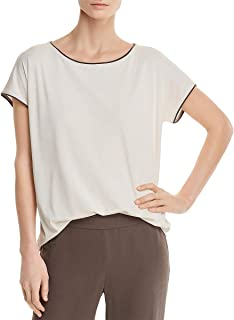 Eileen Fisher Womens Silk Piping Pullover Top