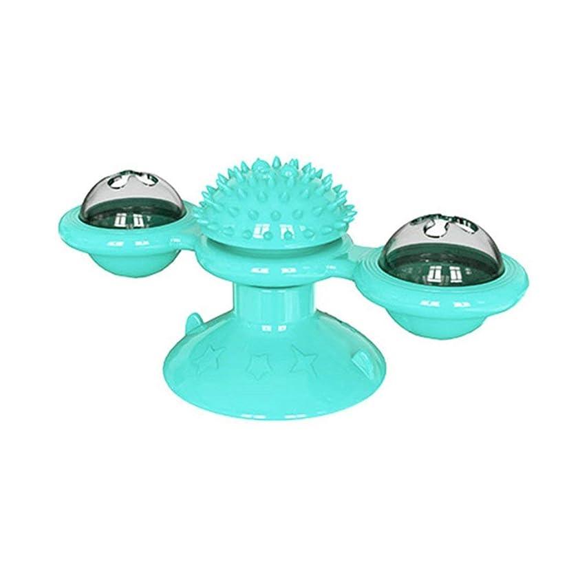 騙すモニカ領域猫のための風車のおもちゃパズルふれまわり猫ゲームターンテーブル猫のおもちゃマッサージでインタラクティブなおもちゃをからかうかゆみをくすぐる-青