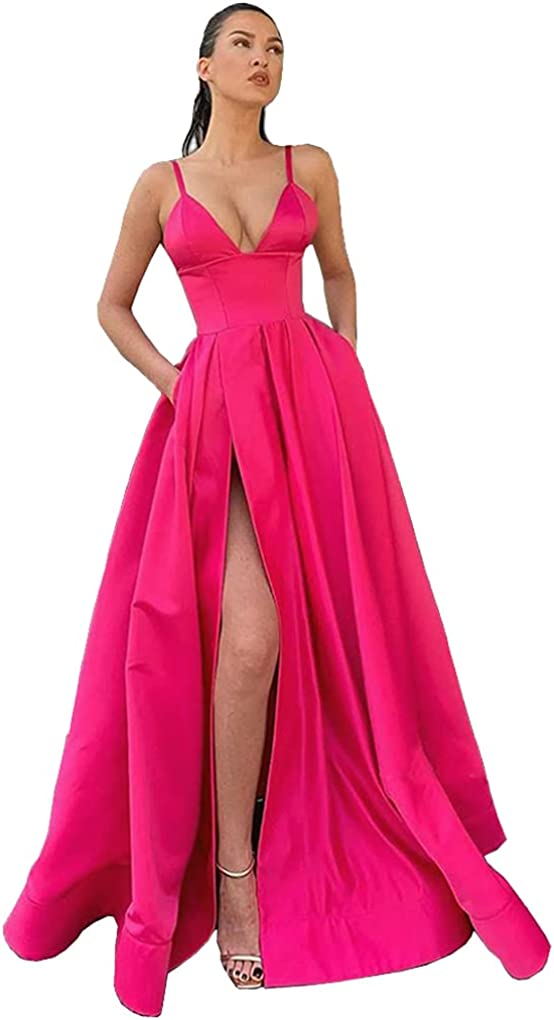 Promworld Women's Spaghetti Straps Satin Long Prom Dresses Evening Gowns with Pockets