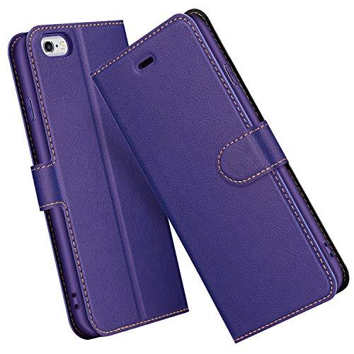 ELESNOW Hülle für iPhone 6 / 6S, Premium Leder Flip Schutzhülle Tasche Handyhülle mit [ Magnetverschluss, Kartenfach, Standfunktion ] für Apple iPhone 6 / 6S - 4,7 Zoll (Lila)