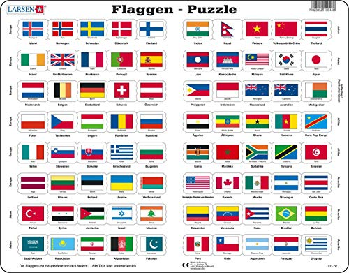Larsen L2 Flaggen-Puzzle, Deutsch Ausgabe, Rahmenpuzzle mit 80 Teilen