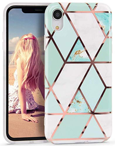 Suhctup Funda compatible para iPhone XR 6.1 pulgadas, ultra chic geometric colorido mármol modelo dibujos silicona funda protectora completa antigolpes antigolpes iPhone XR