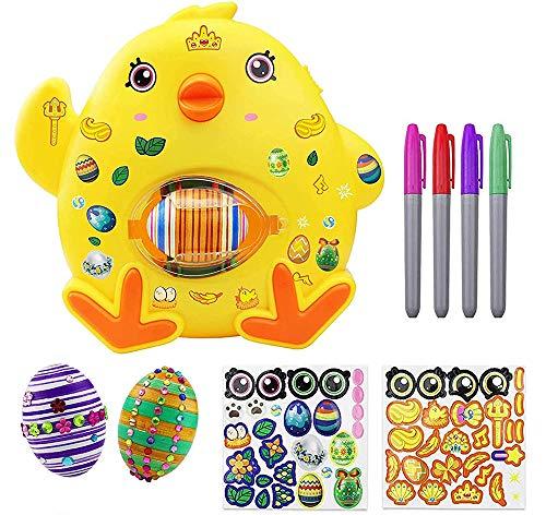 QYHSS Decoración de Huevos de Pascua, Huevos Pintados de Bricolaje DIY Huevo de Pascua Kit, con 8 Marcadores, 3 Huevos & Pegatinas, para Huevos de Pascua Manualidades