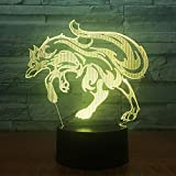 Anime 3D Night Light 7 colores Touch Fierce Wolf 3D LED Light Night Light Multicolor RGB Bulb Decoration Gift Cartoon Toy Luminaria Battery USB Fast Shipping The Perfect Birthday gift for Children