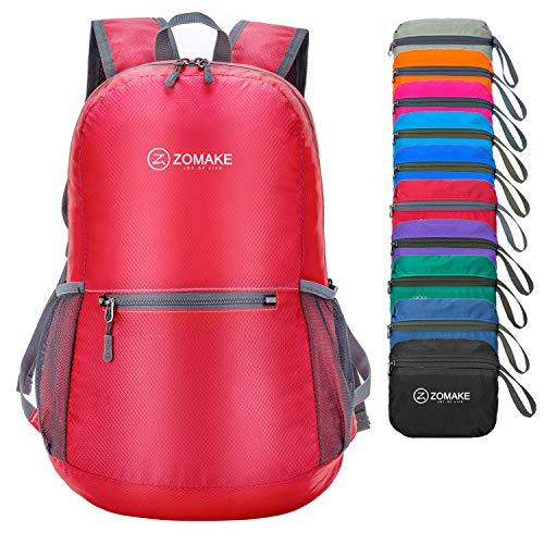 ZOMAKE Ultra Lightweight Foldable Backpack Water Resistant Hiking Daypack, Unisex Small Rucksack for Travel & Outdoor Sports (Red)
