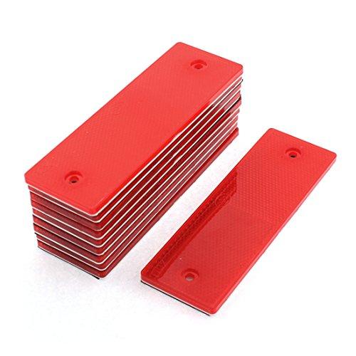 uxcell 10 Pcs Red Plastic Rectangular Stick-on Car Reflector Sticker