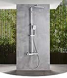 IOMLOP Sistema de Ducha Juego de Ducha termostática Negra, Grifo de Ducha de baño termostático de Doble manija, Grifo de Cascada, Sistema de Ducha montado en la Pared, Color Cromo