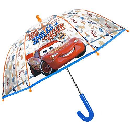 Cars Regenschirm Transparent Jungen Disney Pixar - Lightning McQueen Kinder Schirm Durchsichtig Robust - Kuppel Kinderschirm mit Sicherheitsöffnung - 3 bis 6 Jahre - Durchmesser 64 cm - Perletti Kids