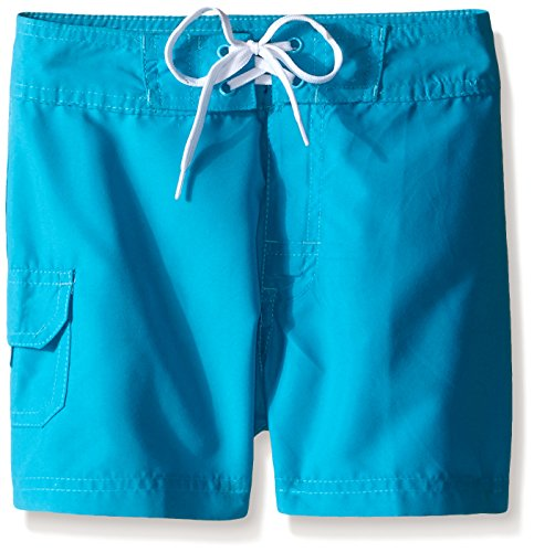 Kanu Surf Girls UPF 50+ Quick Dry Beach Coverup Boardshort, Sassy Aqua Solid, Large (12/14)