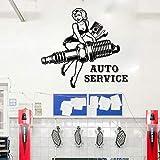 mlpnko Chica Reparación de automóviles Etiqueta de la Pared Garaje Reparación de automóviles Llave de pistón Tatuajes de Pared Vinilo Tienda Decoración 67x63cm