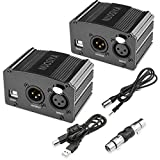 NUOSIYA 1-Channel 48V Phantom Power Supply with 6 feet USB Cable, XLR Adapter + 6 feet XLR 3 Pin Microphone Cable for Any Condenser Microphone Music Recording Equipment (2Pack)
