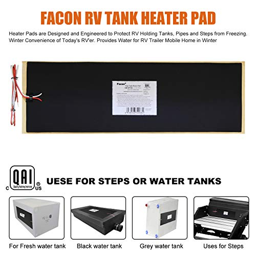Pack of 2 8.0x25 120V AC Water Holding Tank Heater Pad with Automatic Thermostat Control