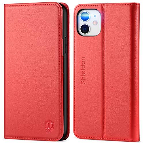 SHIELDON iPhone 11 Hülle, TPU Lederhülle [Echtes Rindsleder] [RFID Schutz] [Lifetime Garantie], Magnetische Schutzhülle [Kartenfach] [Standfunktion], Stoßfeste Tasche Kompatibel für iPhone 11 6,1 Rot
