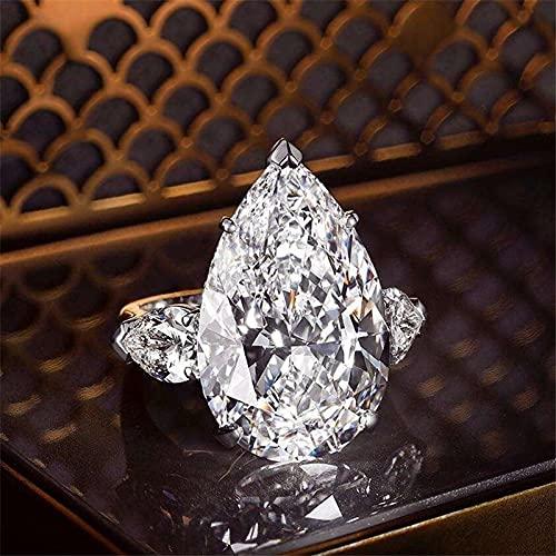 YANGYUE Anillo de Diamantes de 2 Quilates con Gota de Agua, joyería de Plata de Ley 925, Anillos de Compromiso para Boda, para Mujer, Accesorio para Fiesta Nupcial