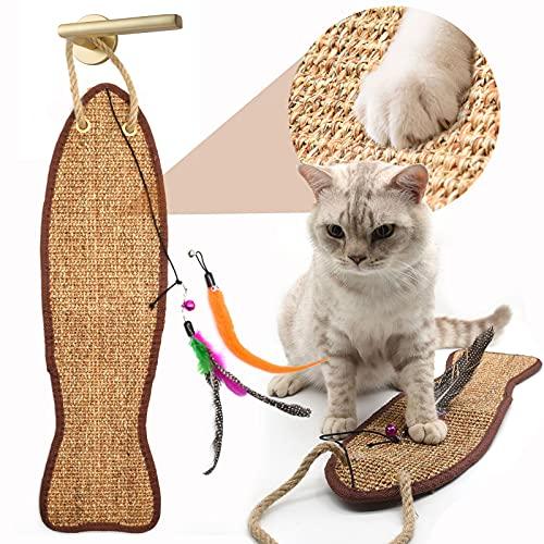 onebarleycorn - Katzen Kratzmatte Katzenteppich Sisal,katzenkratzmatte Sisal Teppich Katze sisalmatte mit Katzenfederspielzeug Geeignet für Krallenpflege Sisalteppich für Wand & Boden(Fischform)