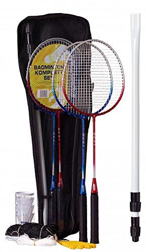 Best Sporting Badminton-Spiel Garnitur bestehend aus Netz, 4 Schläger n, 3 Badmintonbällen, inklusive Tasche, blau-Silber und rot-Silber