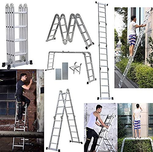 多機能はしご 4.7M (15.4 ft) アルミ はしご兼用脚立 踏み台 折りたたみ 足場台 洗車作業台 伸縮 はしご 多関節脚立 持ち運びに便利 軽量 耐荷重150 kg 簡単14変化 日本語説明書 10年保証 (足場板2枚と物置フットラダー1枚付き)