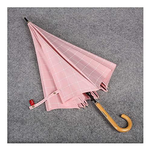 QFUNDAS Anti-UV Paraguas de Mango Recto Creativo Retro A Prueba de Salpicaduras Hogar A Prueba de Viento Lluvia Mujer Paraguas de Mango Largo Plegable/D