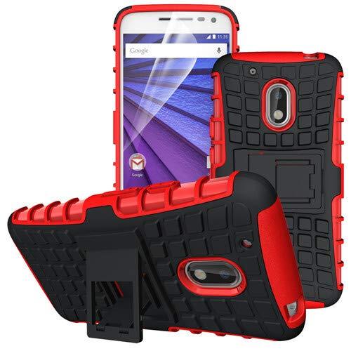 betterfon | Outdoor Handy Tasche Hybrid Hülle Schutz Hülle Panzer TPU Silikon Hard Cover Bumper für Lenovo Moto G4 Play Rot