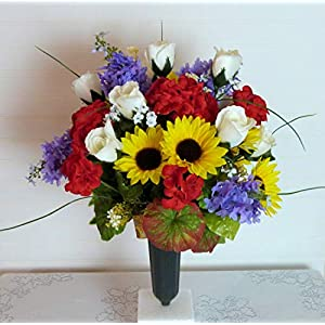 Silk Florals & Frills Sunflower and Lilac Cemetery Vase, Cemetery Flowers with Roses, Summer Cemetery Flowers