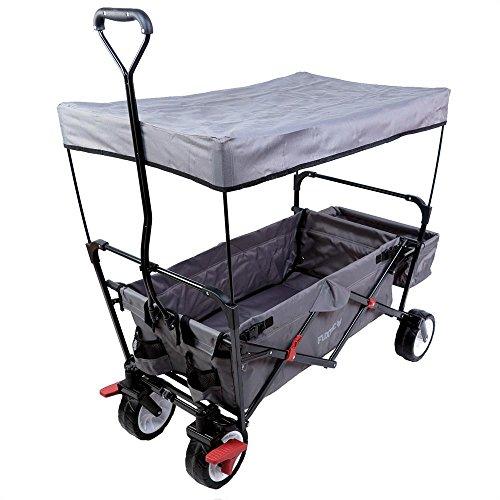 FUXTEC faltbarer Bollerwagen FX-CT350 grau klappbar mit Dach, Vorderrad-Bremse, Strand-Reifen, Hecktasche, für Kinder geeignet - Das Original mit Qualität!