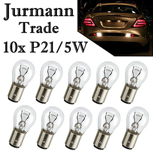 10x Stück Jurmann® Glassockel P21/5W 12V BAY15d * WERKSTATTWARE * Halogen Lampen Autolampen Zweifadenbirne Sockel KFZ-Beleuchtung Birne NEU