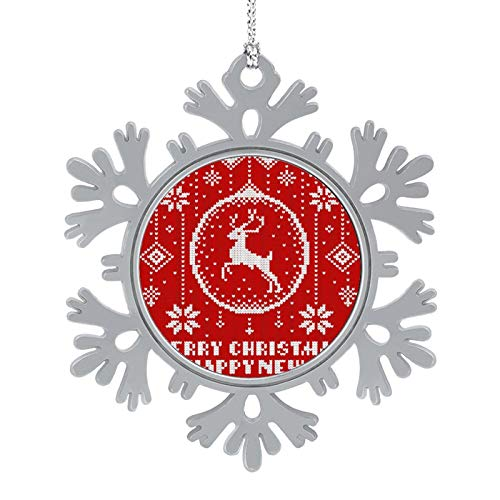 DESPKON Xmas Gifts Presents Knitted Background Pattern Xmas Snowflake Metal Ornaments for Christmas Decoration 2 Inch