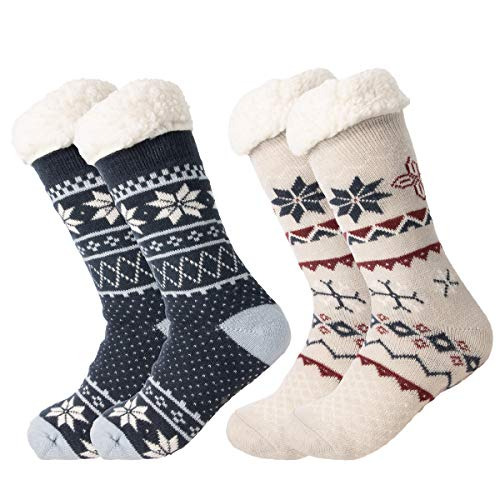 Treehouse Knit (2 Pack) Womens Thick Knit Sherpa Fleece Lined Thermal Fuzzy Slipper Socks With Grippers by DG Hill