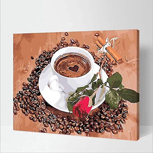 Das DIY Digital Painting Canvas Kit für Erwachsene und Kinder ist perfekt für die Dekoration von Kaffee und Rosen (16 x 20 Zoll) mit Rahmen