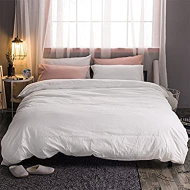 MooMee Duvet Cover Set Solid Off White Washed Cotton Home Bedding Collection 3 Pieces Includes 1 Comforter Cover 2 Pillow Shams Soft Classic Simple Queen Size