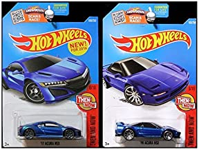 Hot Wheels 2016 Then and Now 2017 and 1990 Acura NSX Set in Blue by Matell