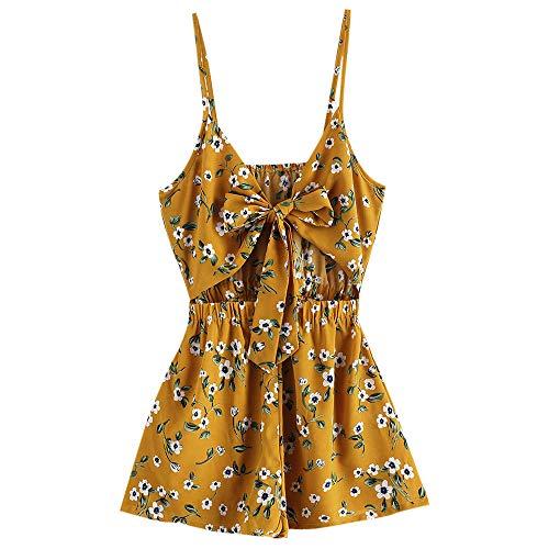 ZAFUL Damen Blumendruck Geknoteter Kurzer Overall Jumpsuits Sommer Kleidung Beachwear(Bienengelb S)