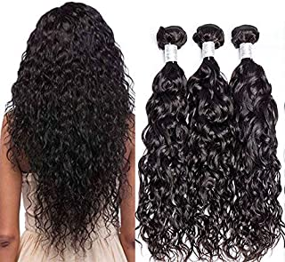 Foruiya Brazilian Water Wave 3 Bundles Deals 100% Human Hair Weave Bundle Natural Color Brazilian Hair Wet And Weave Remy Hair Extensions (12 14 16 inch)