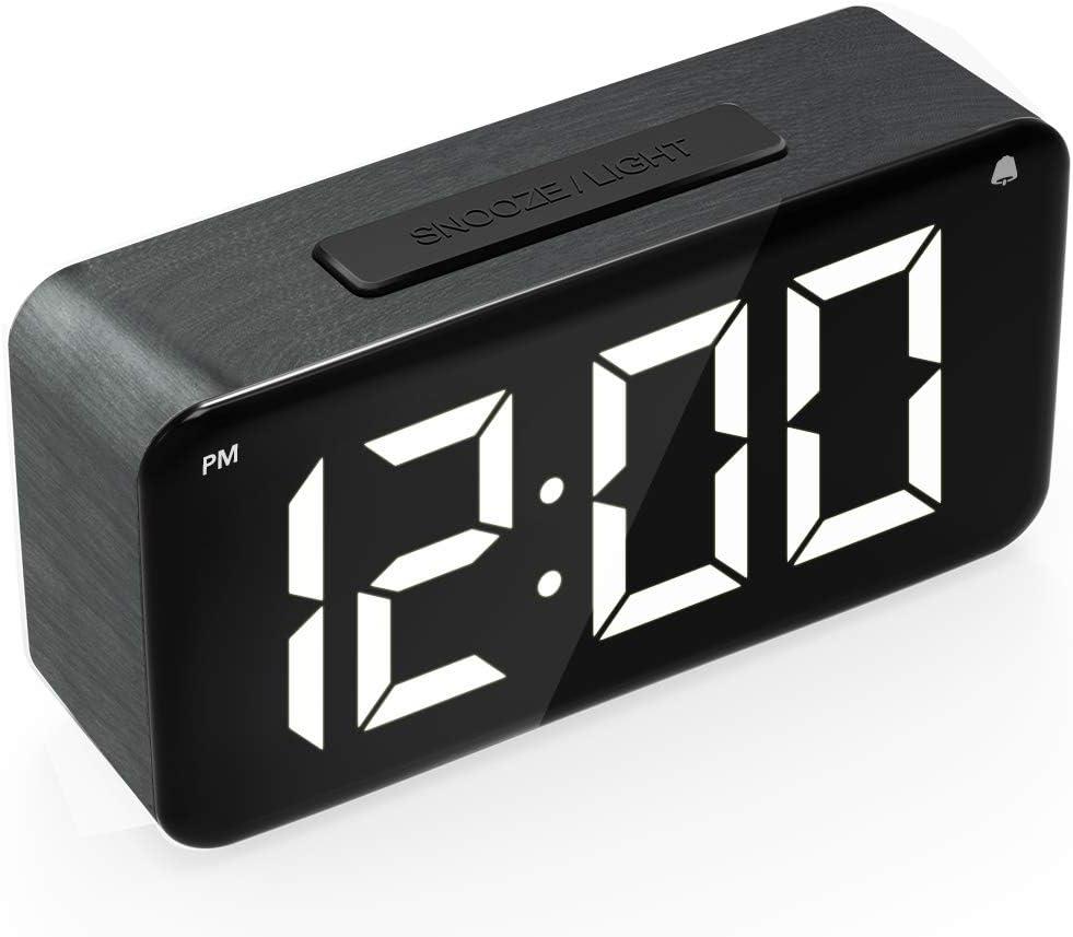 Digital Alarm Fort Worth Choice Mall Clock 6'' LED Wood Screen Display Grai