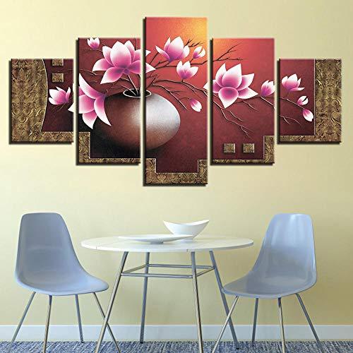 XIUZHEN Modulare Leinwand Hd-Drucke Bilder Wandkunst 5 Stück Magnolien Blumen Vase Gemälde Poster Für Wohnzimmer Home Decor Framework Size1