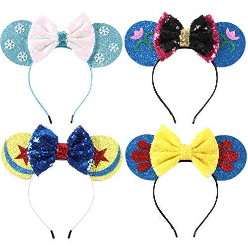 Bascolor 4stk öhrchen Haarreif Minnie Ohren Glitzer Süße Mouse Ohren Haarband mit Pailletten Bogen Kopfschmuck Haarschmuck für Kinder Mädchen Frauen Minnie Kostüm Party Karneval