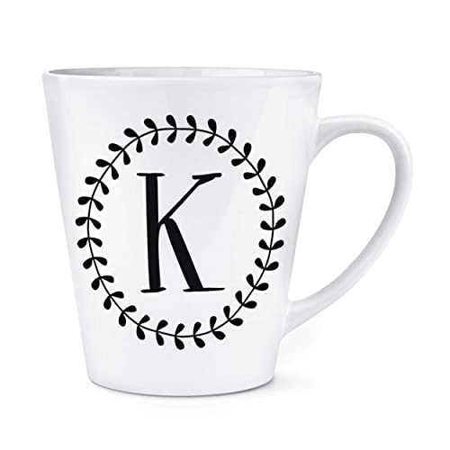 Letter M Floral Wreath Alphabet Travel Mug Cup With Handle Flowers