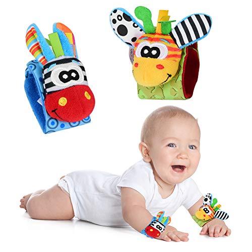 ZJchao Calcetines de Muñeca de Animales para Bebés Sonajero, Pulseras de Sonajero para Bebés, Juguetes de Sonajero para Bebés, Juguetes Educativos para Niños (Jirafa + Burro A)