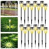 Solarleuchten Garten, 16 Stück Solar Gartenleuchte aus Edelstahl, IP65 wasserdichte Solarlampen für Garten Solarleuchte Dekoration Licht für Außen Fahrstraßen Sicherheits Lichter Garten Patio Rasen
