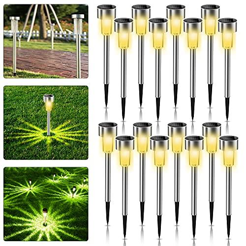 Solarleuchten Garten, 16 Stück Solar Gartenleuchte aus Edelstahl, IP65 wasserdichte Solarlampen für Garten Solarleuchte Dekoration Licht für Außen...