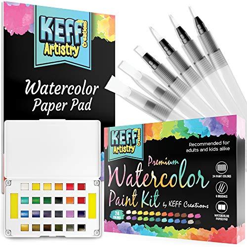 Watercolor Paint Set - 24 Watercolor Paint Palette, 6 Brush Pens, 1 Painting Pad, Washable Paint for Kids and Adults Artists, KEFF