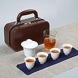 Servizio da tè da viaggio in porcellana bianca in stile cinese, borsa per il trasporto in ceramica, pubblicità per riunioni festive, LOGO personalizzato per regali aziendali-Reverse Cup-Glass Tea Sea